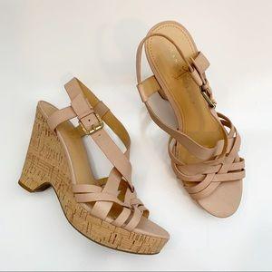 Ivanka Trump | Cork Wedge Handy Strappy Sandals 9M